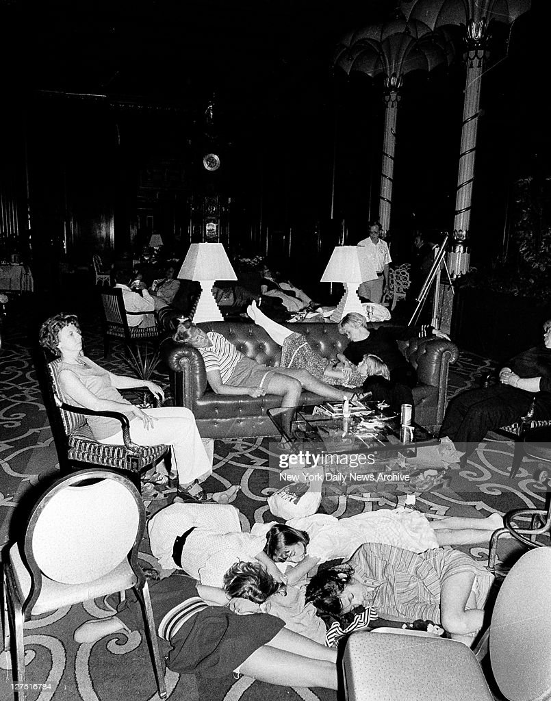 Stranded people sleeping in the lobby at the WaldorfAstoria hotel during the 1977 blackout power failure