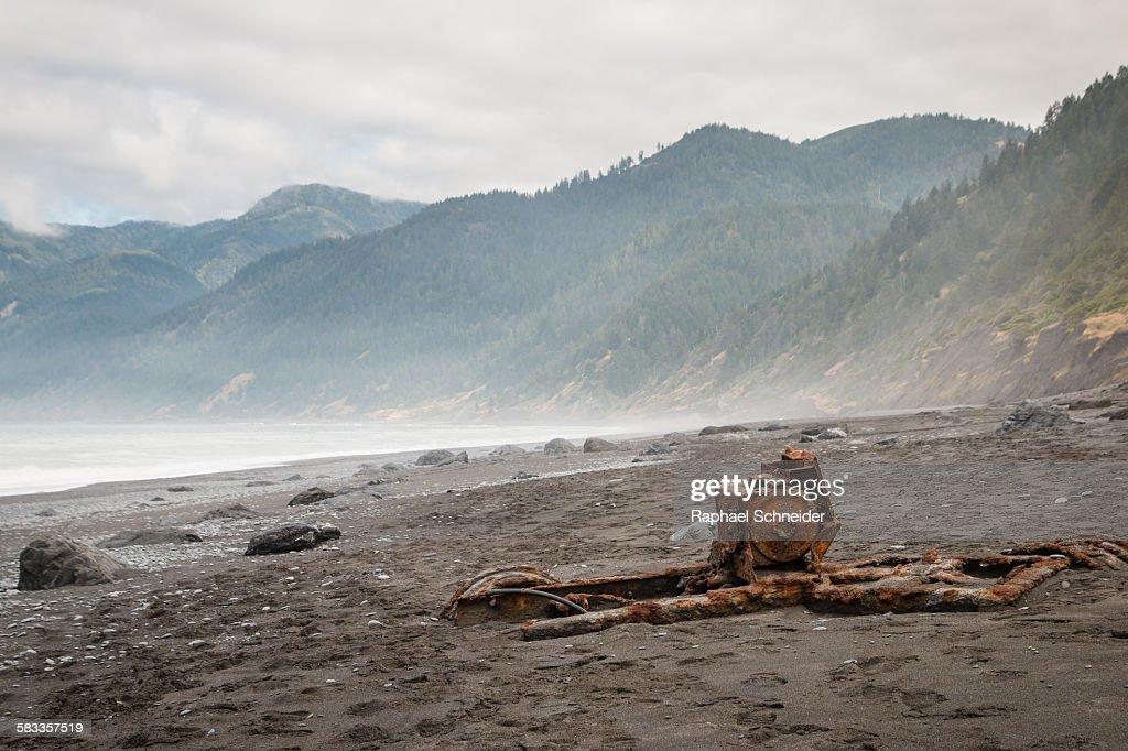 Stranded vehicle frame, Lost coast, California