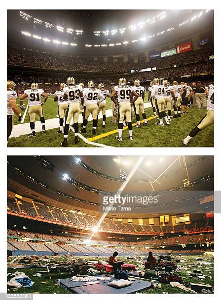 The New Orleans Saints look on during a preseason game against the Houston Texans at the Superdome August 21 2010 in New Orleans Louisiana NEW...