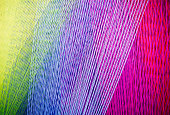 Strands of colorful  Yarn on a Loom