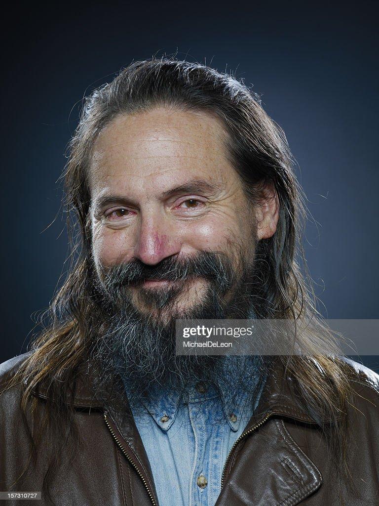 Strange Bearded Man Smiling
