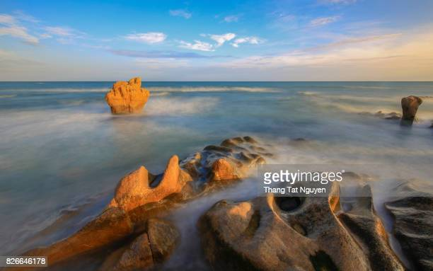 Strange rocks in the morning at Co Thach beach, Tuy Phong, Binh Thuan province, Vietnam