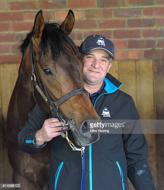 Strapper Brendan Lynch with Flying Artie after winning Catanach's Jewellers Blue Sapphire Stakes at Caulfield Racecourse on October 12 2016 in...