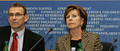 EU energy commissioner Latvian Andris Piebalgs and EU competition commissioner Dutch Neelie Kroes are pictured during a press conference inside of...