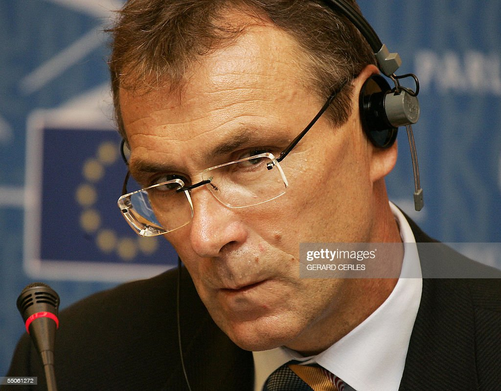 European Commissioner for Energy and Industry Latvian Andris Piebalgs holds a press conference during the Plenary session of the European Parliament...