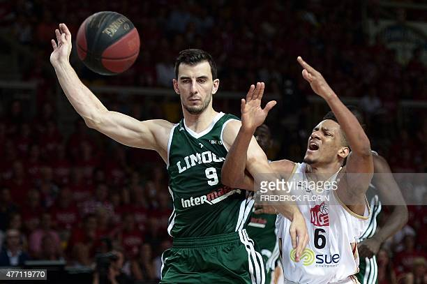 Strasbourg's Axel Toupane vies with Limoges' Leo Westermann during the French ProA basketball playoff final match between Strasbourg and Limoges on...
