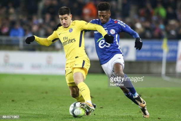 Strasbourg's Cape Verdian forward Nuno Da Costa and Paris SaintGermain's Spanish defender Yuri Berchiche during the French L1 football match between...