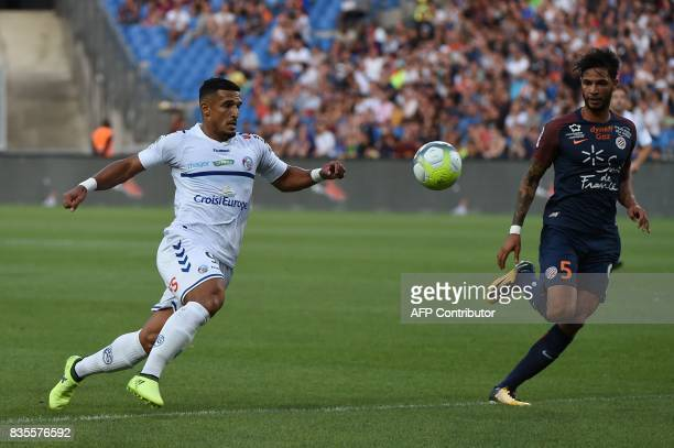Strasbourg's forward Idriss Saadi vies with Montpellier's defender Pedro Mendes during the French L1 football match between Montpellier and...