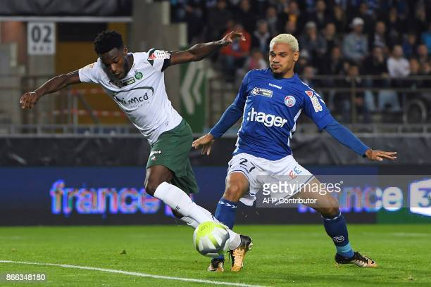 Strasbourg's French defender Kenny Lala vies with SaintEtienne's French forward Jonathan Bamba during the French League Cup round of 16 football...
