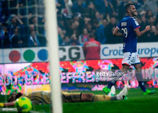 Strasbourg's French forward Khalid Boutaib celebrates after scoring a goal during the French L2 football match between Strasbourg and BourgenBresse...