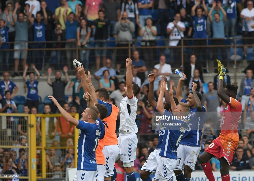 Strasbourgs Players Wave To Their Supporters As They Celebrate Their Victory After The French Ligue