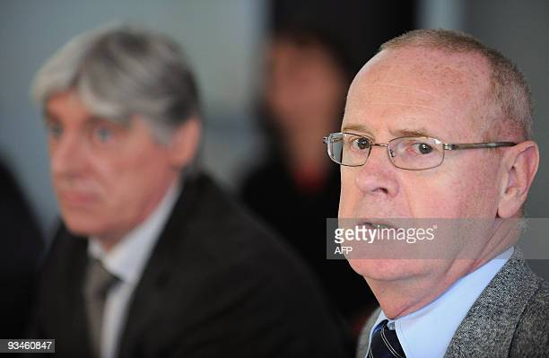 Strasbourg's prosecutor Jacques Louvel and Eric Voulleminot Head of the Criminal Investigation Department of Strasbourg give a press conference on...