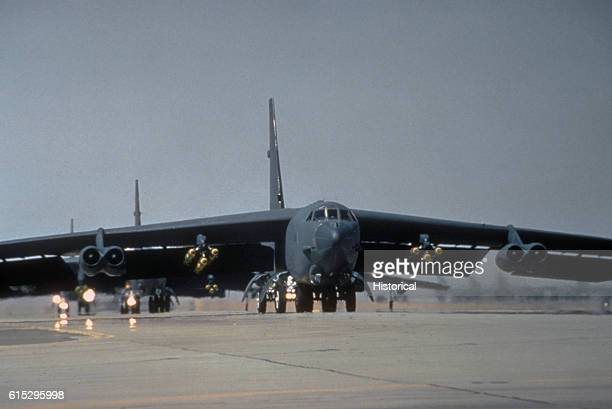 A Strategic Air Command B52G Stratofortress aircraft prepares to take off on a mission during Operation Desert Storm February 6 1991