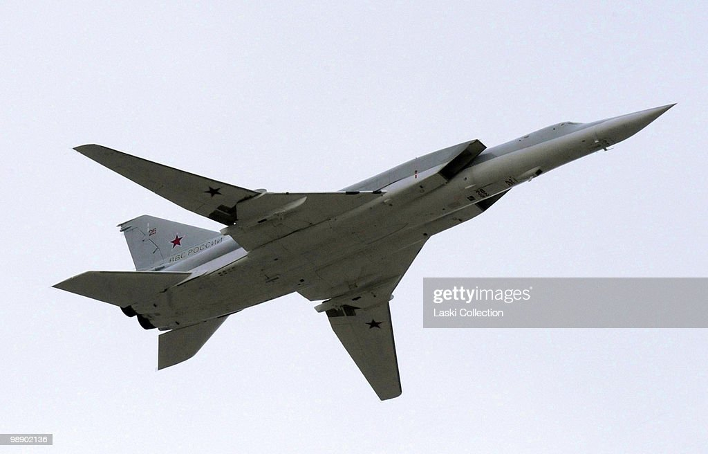 Strategic bomber TU-22M Backfire. Russian military forces train for the Victory Day parade that will take place on 9 May 2010 marking the 65th anniversary of the Second World War. on May 06, 2010