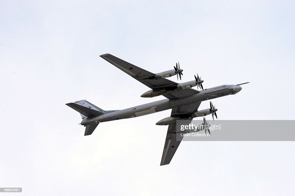Strategic bomber Tu-95. Russian military forces train for the Victory Day parade that will take place on 9 May 2010 marking the 65th anniversary of the Second World War. on May 06, 2010