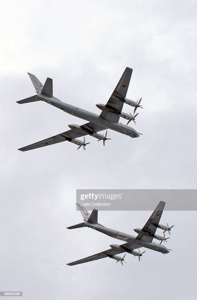 Strategic bombers Tu-95. Russian military forces train for the Victory Day parade that will take place on 9 May 2010 marking the 65th anniversary of the Second World War. on May 06, 2010