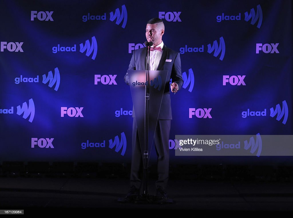 Strategic Giving Officer of GLAAD Wilson Cruz speaks at 24th Annual GLAAD Media Awards Presented By Ketel One And Wells Fargo - Dinner And Show at JW Marriott Los Angeles at L.A. LIVE on April 20, 2013 in Los Angeles, California.