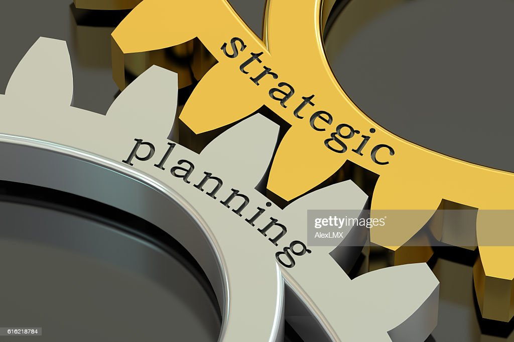 Strategic Planning concept on the gearwheels, 3D rendering : Stock Photo