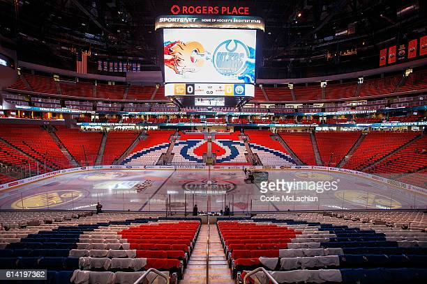 Strategically placed Tshirts form an Edmonton Oilers logo before the season opener against the Calgary Flames on October 12 2016 at Rogers Place in...