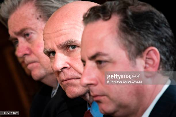 Strategist Steve Bannon National Security advisor HR McMaster and White House Chief of Staff Reince Priebus listen during a joint press conference...