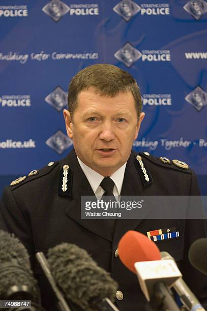Strathclyde Police Chief Constable Sir Willie Rae speaks at a press conference regarding the terrorist bomb attack on Glasgow Airport on June 30 2007...