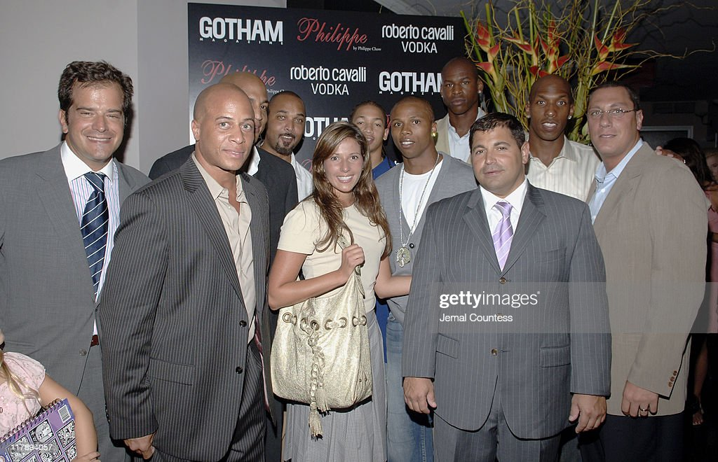 Stratis Morfogen, owner of Philippe with Chris Brantley, Keith Lyle, Craig Williams, Jennifer Dobbeck of Gotham Magazine, Tyronn Lue, <a gi-track='captionPersonalityLinkClicked' href=/galleries/search?phrase=Sebastian+Telfair&family=editorial&specificpeople=202087 ng-click='$event.stopPropagation()'>Sebastian Telfair</a>, <a gi-track='captionPersonalityLinkClicked' href=/galleries/search?phrase=Al+Harrington&family=editorial&specificpeople=201645 ng-click='$event.stopPropagation()'>Al Harrington</a>, <a gi-track='captionPersonalityLinkClicked' href=/galleries/search?phrase=Chauncey+Billups&family=editorial&specificpeople=201508 ng-click='$event.stopPropagation()'>Chauncey Billups</a> (back row right) and Andy Miller on far right with guest
