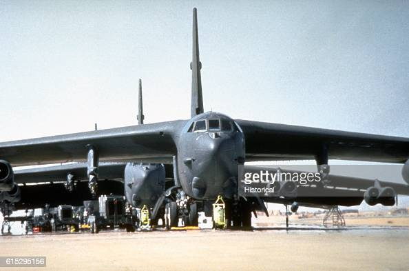 Stratofortress bomber aircraft from the 1708th Bomb Wing are prepared for a mission during Operation Desert Storm