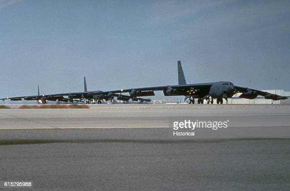 Stratofortress bomber aircraft from the 410th Bomb Wing K I Sawyer Air Force Base Michigan armed with Mark 82 500pound bombs on the wing pylons takes...
