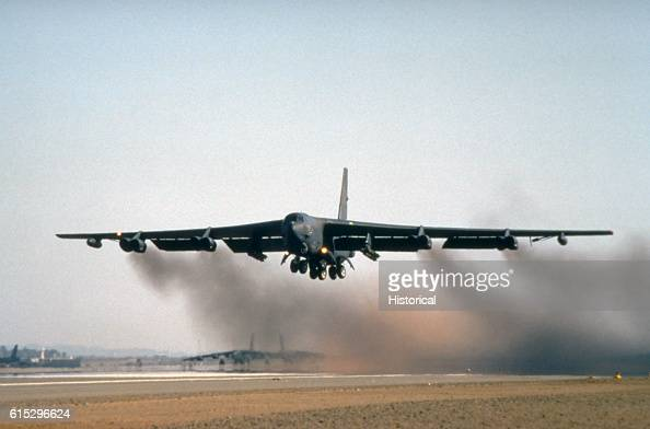 Stratofortress bomber aircraft of the 1708th Bomb Wing takes off on a mission during Operation Desert Storm in 1991