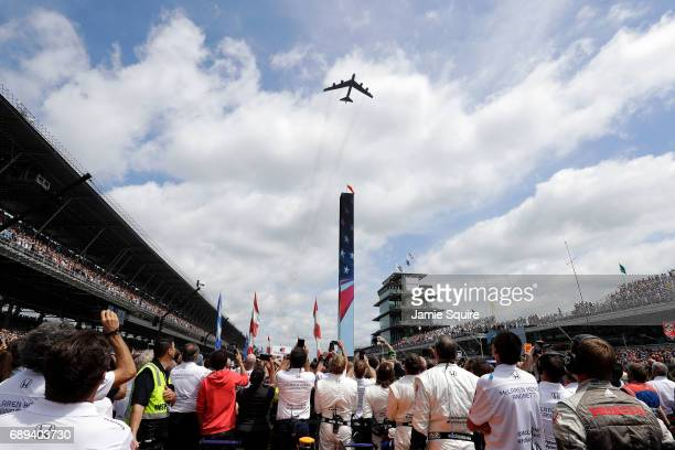 Stratofortress Bomber performs a flyover ahead of the 101st running of the Indianapolis 500 at Indianapolis Motorspeedway on May 28 2017 in...