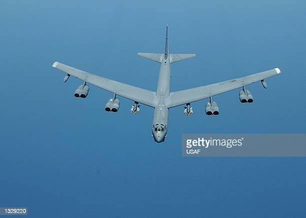 Stratofortress returns from a mission supporting Operation Enduring Freedom on March 23 2002 B52 is a longrange heavy bomber that can perform a...
