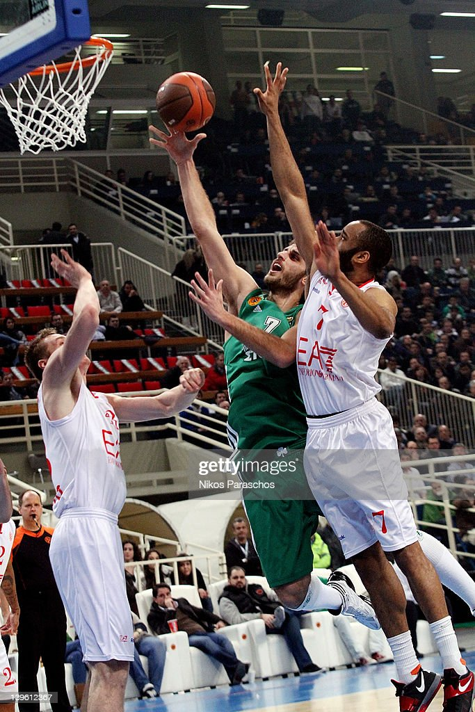 Stratos Perperoglou, #7 of Panathinaikos Athens competes with Malik Hairston, #7 of EA-7 Emporio Armani Milan during the 2011-2012 Turkish Airlines Euroleague TOP 16 Game Day 5 match between Panathinaikos Athens and EA7 Emporio Armani Milan at OAKA on February 23, 2012 in Athens, Greece.