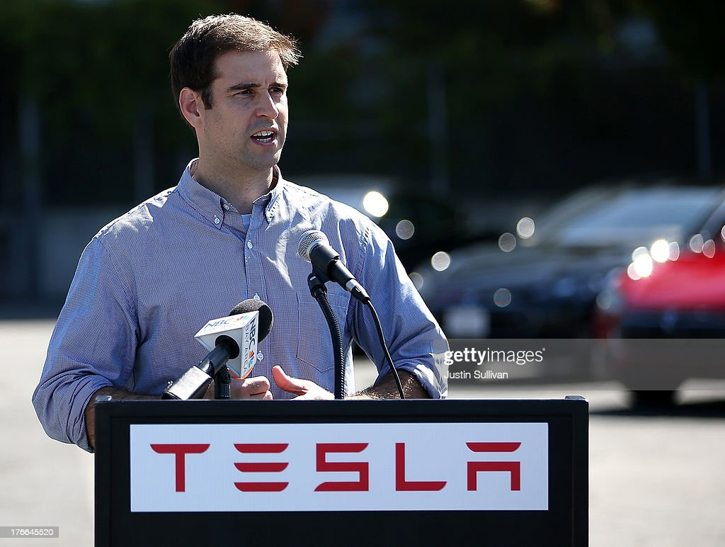 JB Straubel, Tesla Motors chief technical officer, speaks during a ribbon cutting for a new Supercharger station outside of the Tesla Factory on August 16, 2013 in Fremont, California. Tesla Motors opened a new Supercharger station with four stalls for public use at their factory in Fremont, California. The Superchargers allow owners of the Tesla Model S to charge their vehicles in 20 to 30 minutes for free. There are now 18 charging stations in the U.S. with plans to open more in the near future.