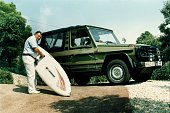 Strauss Franz Josef Politician CSU Germany with a surfboad and his car probably August 1988