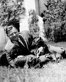 Strauss Franz Josef Politician CSU Minister of Defence Germany with his dogs named Bojar Zick and Zack published in 1960