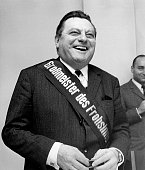 Strauss Franz Josef Politician CSU Minister of Finance Germany with a sash saying Grand Master of Cheerfulness February 1969