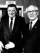 Strauss Franz Josef Politiker CSU D mit dem Staatsratsvorsitzenden der DDR Erich Honecker am Rande der Leipziger Herbstmesse 1985