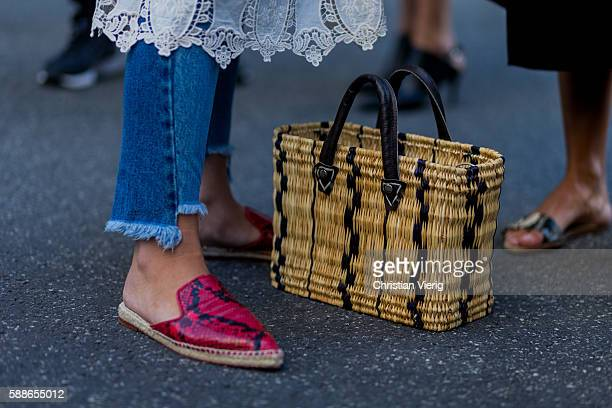 A straw bag outside Baum und Pferdgarten during the second day of the Copenhagen Fashion Week Spring/Summer 2017 on August 11 2016 in Copenhagen...