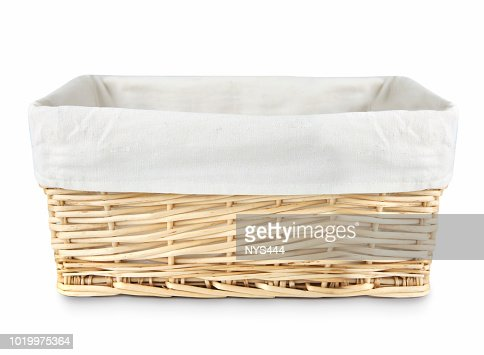 Straw basket isolated. : Stock Photo