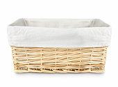 Straw basket with linen isolated.
