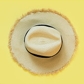 Straw beach sun-hat on yellow. Female outfit for heat. Square image. Minimal summer.
