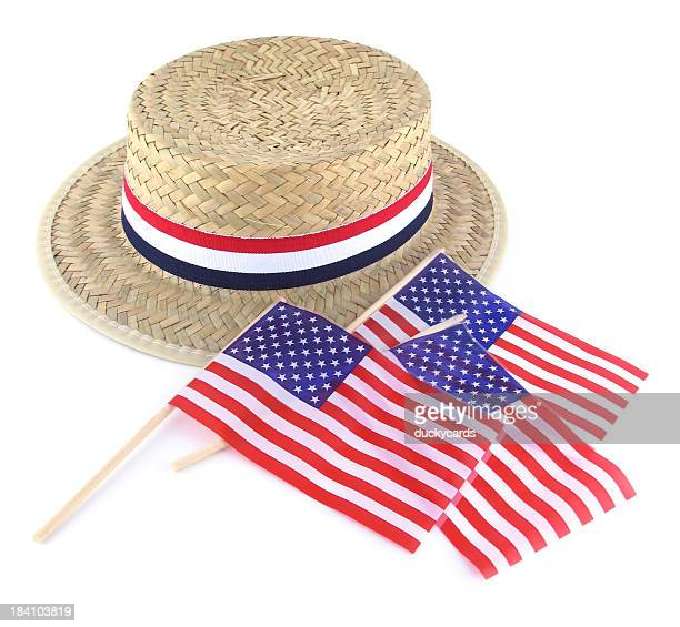 Straw Election Hat and Flags