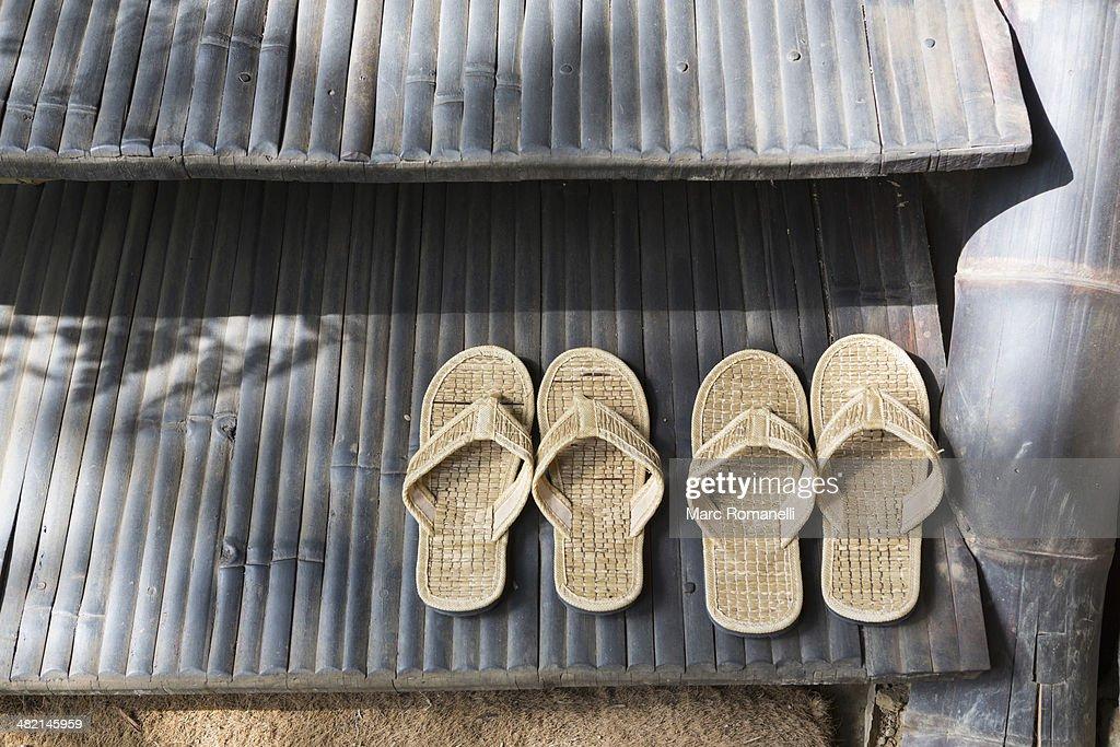 Straw flipflops on step