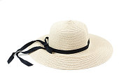 A straw hat,isolated on white background.