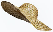 straw hat cut out on white
