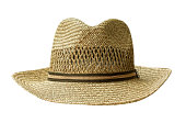 man's sun hut or gardening hat isolated on white with Clipping Path