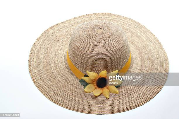 straw hat with sunflower decoration