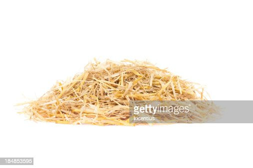 Straw pile isolated on white