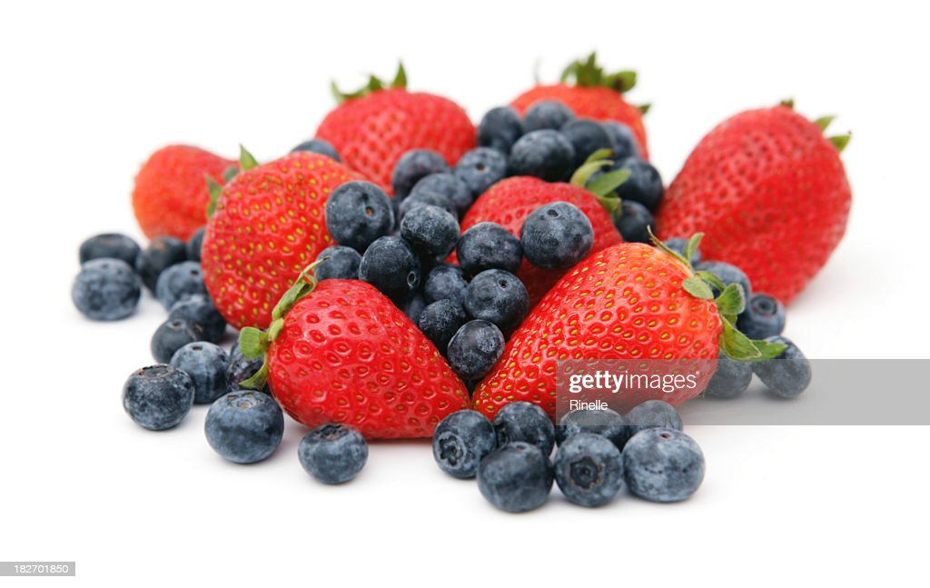 Strawberries and Blueberries : Stock Photo