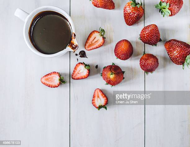 strawberries and chocolate sauce